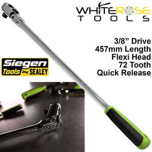 "Siegen Ratchet Handle Socket Wrench 3/8"" Drive Flexi Head 72T Extra Long 457mm"