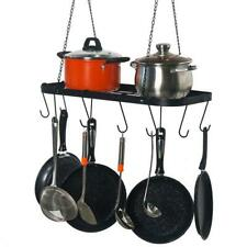 Pot Rack Ceiling Mount Cookware Rack Hanging Hanger Organizer with Hooks Black