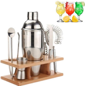 5pc Cocktail Maker Set Shaker Drinks Mixer Ice Tongs Bars Bucket Bartender Pubs