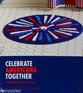 USA Americana Patriotic Together Fireworks 24 in Round Bathroom Bath Rug Mat NWT