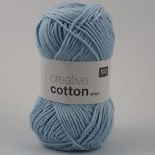 Rico Creative Cotton Aran - 100% Cotton Knitting & Crochet Yarn - Light Blue 32