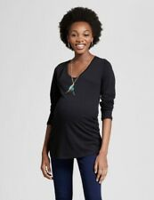 Isabel Maternity S Small Long Sleeve Scoop Neck Shirred Black T-Shirt New NWT
