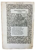 Rare Gravure 1559 Dauphin Caravelle Ovide Navire Marine  Bacchus Bacchanales