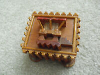 "Small Vintage Wood Asian Theme Lid Music Box 2 1/4"" Tall"