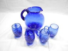 HANDBLOWN COBALT BLUE PITCHER AND 4 HANDLED MUGS