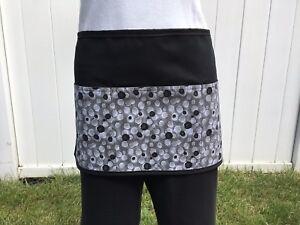 Black / white dots 3 pocket waitress waist Half apron  Server resturants
