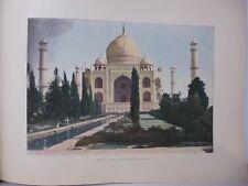 Inde : Gravure 19° in folio couleur / Agra: Entrée du Tady Mahal et la Fontaine