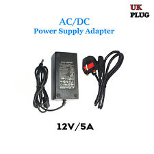 Power Supply 12V 5A 60W AC/DC Charger Adapter for CCTV Cameras LED light UK Plug