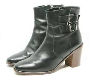 J. J Crew Ankle Boots Womens size 9.5 Black Leather Booties dress block heels