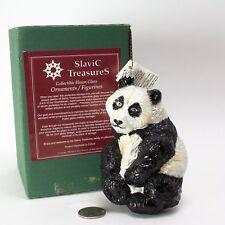 "SLAVIC TREASURES Hand Blown Glass ANIMAL ORNAMENT 5"" Panda Bear POLAND Retired"