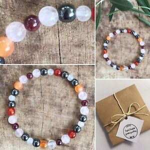 MENOPAUSE SUPPORT Bead Bracelet HORMONE Relief Crystal Healing Chakra UK MADE