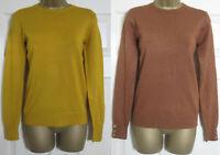 NEW Warehouse Womens Crew Neck Button Cuff Jumper Top Knit Mustard Brown 6-18