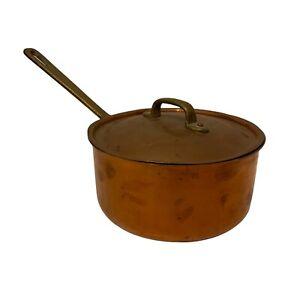 Vintage Copper Saucepan Pan Tin Lined Brass Handle & Lid