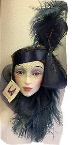 """New Old Stock Clay Art Ceramic Wall Mask, Blue Lady, Original Hang Tag 18""""long"""