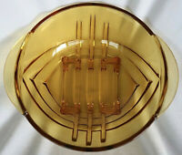 Vintage Art Deco Round Amber Glass Bowl circa 1930 21 cm