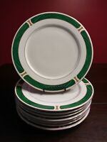 "Set Of 8 Majesty Malachite #8420 Dinner Plates 10 1/2"", Green/Gold Trim."