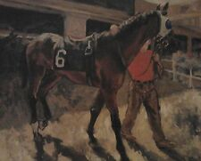 1993 OIL PAINTING ON LINEN- HORSE IN MONMOUTH PARK PADDOCK, BY ALAN BROWN