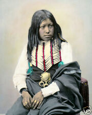 "BUFFALO HORN NATIVE AMERICAN INDIAN COMANCHE 1872 8x10"" HAND COLOR TINTED PHOTO"