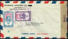 2529 Nicaragua To Us Censored Air Mail Cover 1945 Managua - Peoria, Il