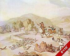 ENGLISH VILLAGE FOX HUNT HORSE FOXHUNTING HUNTING ART PAINTING CANVAS PRINT