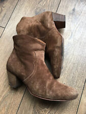 Russell & Bromley Gaucho Brown Suede Leather Western Chelsea Ankle Boots 6 39