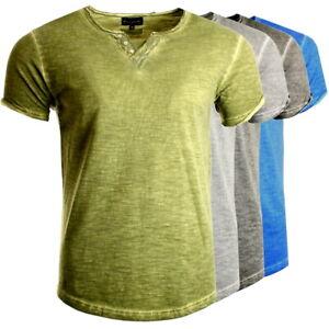 T-Shirt Herren mit V-Ausschnitt und Knopfleiste aus 100% Baumwolle Slim Fit NEU