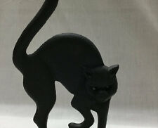 Cast Iron Black Cat with Glass Eyes Door Stop