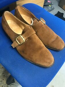 Loake English made brown suede leather monk strap shoes size 12.5