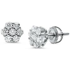 Round 7 Stone Flower CZ .925 Sterling Silver Earrings