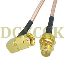 """Cable RP*SMA male right angle to female bulkhead RG316 Jumper pigtail 6""""  FPV"""