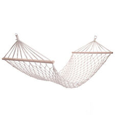Hammock Bed with Rope Wood Pole Cotton Rope White for Outdoor Camping Travel