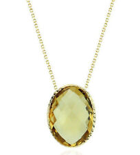 14K Yellow Gold Gemstone Necklace With A Citrine Oval Solitaire 18 Inches