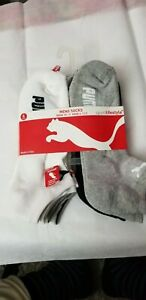 6 PAIRS PUMA All Sport Cotton Blend No Show White/Grey Mens Socks Size 10-13