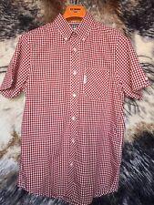 Ben Sherman Gingham Short Sleeve Shirt, Red, Size S