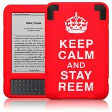 For Amazon Kindle 3 Stay Reem Flexible Silicone Soft Rubber Skin Cover - Red