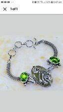 Green jade and peridot bracelet