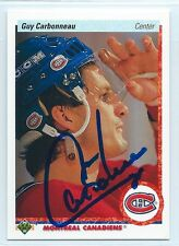 Guy Carbonneau signed 1990-91 Upper Deck Montreal Canadiens; autograph #188