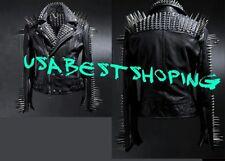 Men Cowhide leather punk Silver Long studded On Shoulder black jacket coat