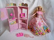VINTAGE BARBIE DOLL IN PINK DRESS WITH BEDROOM UNIT & EXTRAS