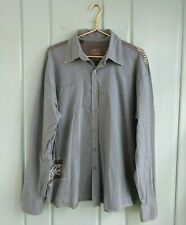 Roar Decimus II Mens XL Button Front Shirt Gray Embellished Embroidered Striped