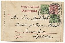 Germany Scott #47 x2 #48 on Card Letter to Argentina 1898