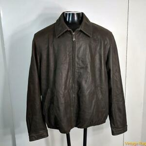 COLUMBIA Soft Lambskin LEATHER JACKET Mens 2XLT 2XT brown blanket lined