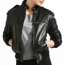 Womens Black Latte Bomber Soft Real Leather Jacket