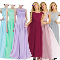 Women Long Chiffon Evening Formal Party Ball Gown Prom Bridesmaid Dress