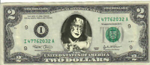 Kiss Ace Frehley $2 Dollar Bill Mint! Rare! $1…
