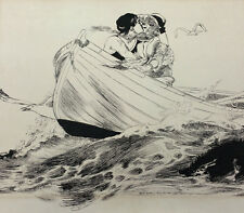 "HARRY W RICHARDSON ORIGINAL EARLY DRAWING TITLED ""HEARTS ADRIFT"" #058"