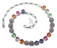 Mariana 803 Flower Power Multi Color Oval Swarovski Silver Plated Necklace NWT