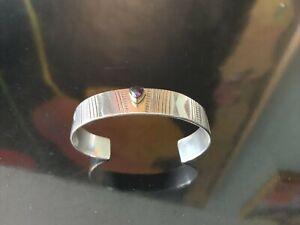 Handcrafted Southwestern Sterling Silver 22k Yellow Gold Amethyst Cuff Bracelet