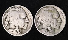 SET OF 2 COINS 1923 P and S Buffalo Nickel G / VG FREE SHIPPING