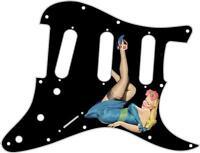 Stratocaster Pickguard Custom Fender SSS 11 Hole Guitar Pin Up Girl Blue Dress B